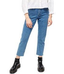 women's bdg urban outfitters dillon raw hem ankle straight leg jeans, size 30 - blue
