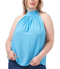 1.state plus size printed tie-neck top