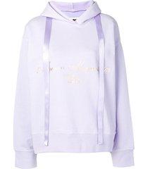 mm6 maison margiela printed logo hoodie - purple