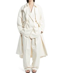 women's the row oswin belted cotton blend trench coat, size x-small - beige