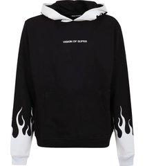 vision of super black hoodie white flames