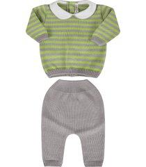 little bear grey and neon green babykids suit