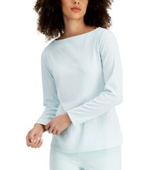 alfani ribbed boat-neck top, created for macy's