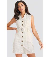 na-kd classic belted cargo sleeveless dress - white