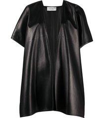 valentino draped short-sleeve cape - black
