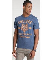 """camiseta masculina """"college"""" manga curta gola careca azul"""