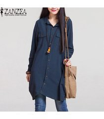 zanzea moda otoño venta mujeres blusas de manga larga dobladillo irregular de las camisas de algodón ocasionales sólidos blusas suelta más el tamaño de las tapas (marina) -azul