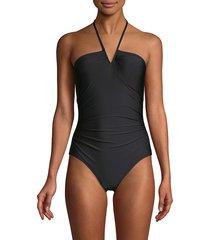 calvin klein women's v-wire one-piece swimsuit - black - size 6