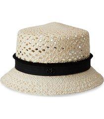 maison michel arsene woven straw hat - neutrals