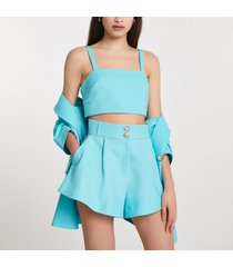 river island womens blue structured double button shorts