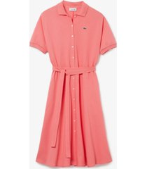 lacoste cotton belted polo shirt dress