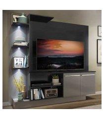 "estante c/ 3 leds painel tv 55"" e 2 portas dallas multimóveis preto/lacca fumê"