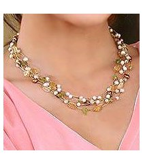 cultured pearl and citrine beaded necklace, 'spring awakening' (thailand)