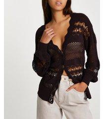 river island womens brown crochet cardigan