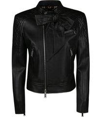 dsquared2 bow detail biker jacket