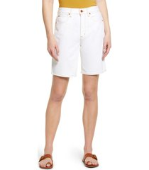 slvrlake london relaxed fit high waist denim shorts, size 26 in natural white at nordstrom