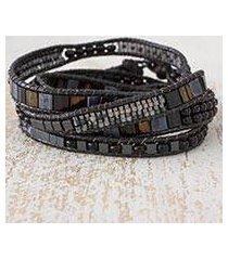 beaded wrap bracelet, 'mythical sierra' (guatemala)