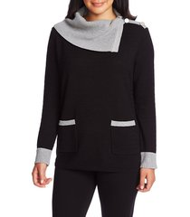 women's chaus colorblock two-pocket cotton sweater, size x-large - black
