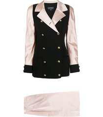 chanel pre-owned 1990s contrast panel two-piece skirt suit - pink