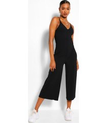 geribbelde culotte jumpsuit met bandjes, zwart