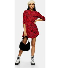 red animal mini shirt dress - red