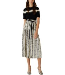 marella printed pleated belted culottes