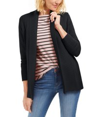 charter club petite shawl-collar mixed-stitch sweater, created for macy's