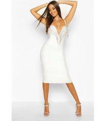 boutique bandage plunge full diamante midi dress, white