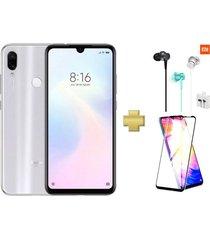 celular xiaomi redmi note 7 128gb 4gb ram 48mpx blanco + protector pantalla+ audífonos xiaomi