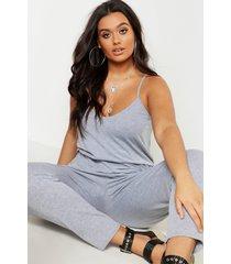 plus basic cami jumpsuit, grey