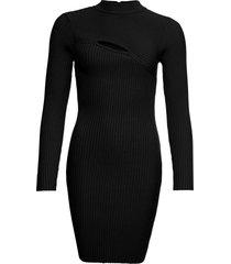 abito in maglia a coste con cut-out (nero) - bodyflirt boutique