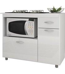 balcão p/ cooktop 5 bocas e microondas branco completa móveis