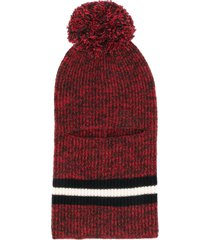 cashmere in love pom pom balaclava hat - red