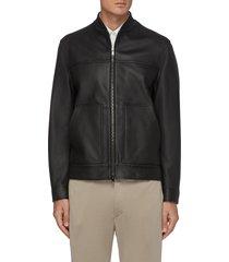 fletcher' two way zip leather jacket
