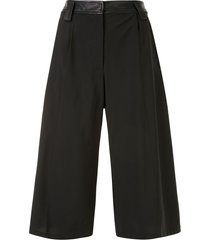 christopher esber leather waistband knee-length shorts - black