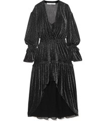 rolienae ruffled metallic chiffon midi dress