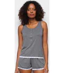 pijama cor com amor shorts doll regata e renda feminino - feminino