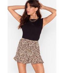 womens give us roar ruffle leopard shorts - beige