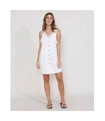 camisola feminina com botões sem manga branca