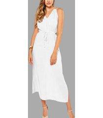 espalda sin mangas con cordones y abertura lateral playa maxi vestido en blanco
