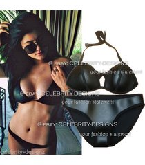 sw30 celeb style neoprene leather-like triangle halter top mini bikini swimwear