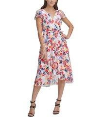 dkny floral-print faux-wrap midi dress