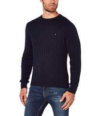 sweater azul tommy hilfiger classic cotton blend cable cne