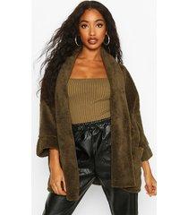 edge to edge shawl collar coat in teddy fleece, khaki