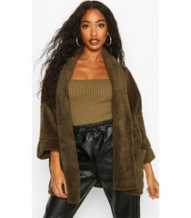 edge to edge shawl collar coat in teddy fleece, khaki