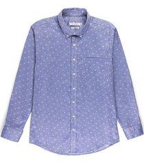 camisa casual manga larga con textura slim fit para hombre 95185