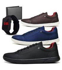kit 03 pares tênis sapatênis casual fashion com carteira e relógio led dubuy 940el preto, azul e marrom