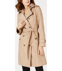 london fog double-breasted water resistant hooded trench coat, created for macy's