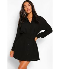 blousejurk met lange mouwen en knoopsluiting en riem, zwart