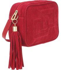 bolsa mevisto em nobuck camurça vermelho